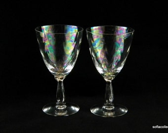 Fostoria Glass Shell Pearl Pattern Pearlescent Optic Glass Iced Tea Glasses / Water Glasses - Vintage 1950s 1960s Stemware (pair)