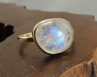 Moonstone Solid 14k Gold Ring, Moonstone Engagement Ring
