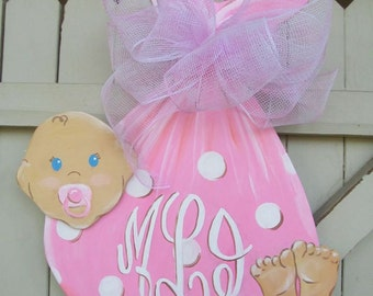 It's a Girl! or a Boy :) Baby Wooden Door Hanger Monogramed