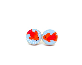 Turquoise and Red Stud Earrings, Koi Fish, Japanese Paper, Washi, Chiyogami, Resin Earrings, Decoupage, Wood, Gift under 10, Goldfish