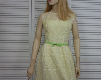 Vintage 1960s Yellow Eyelet Long Dress