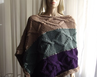 Custom Order - Diamond Chains - Hand Knitted PONCHO / CABLE KNIT Poncho / Cozy Poncho / Multi Color / Bateau Neck / Thick Poncho / Unisex