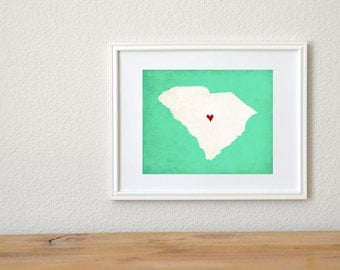 South Carolina State Art Silhouette Map Personalized Print