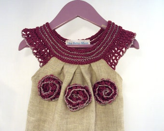 crocheted /sew organic linen baby/ toddler/girl flower dress/tunic with lacy edge