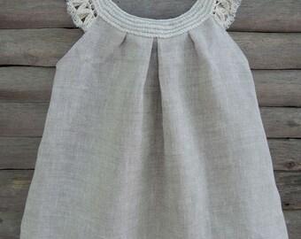 handmade organic dress crochet baby dress flowergirl organic dress  linen organic baby clothes