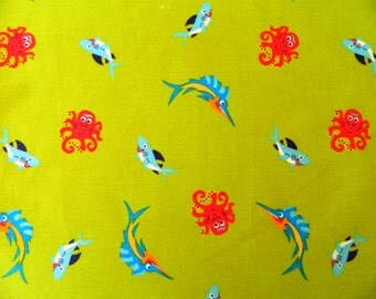Sale - Sea Creatures Sea Life Fish Octopus Shark Fabric Cotton By The Yard
