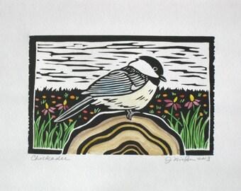 Chickadee, original block print, hand printed linocut, open edition, 4x6 inches, watercolor