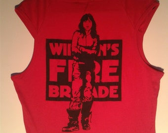 Feminist Wimmen's fire brigade Tank, Singlet with radical Fist print. Direct Action Political