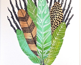 Feather Art Painting - Lola Feather Bundle - Archival Print