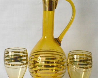 Vintage Wine Decanter and Two Glasses Amber Autumn Yellow Gold Overlay Barware