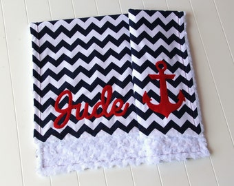 Nautical Baby Blanket, Monogrammed Blanket, Anchor Baby Blanket