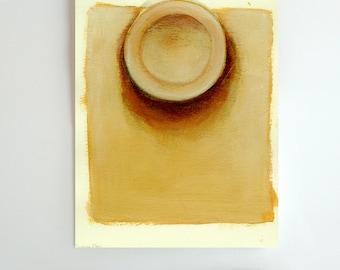 Plate on table -Original art drawing-Ink, oil pastel, pencil, acrylic, acid free paper. Breakfast/lunch/dinner/yellow/orange/brown