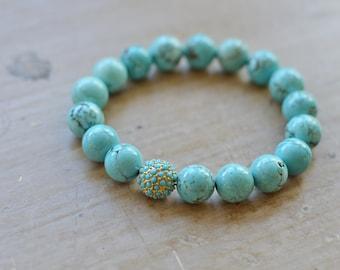 Turquoise Gemstone Bracelet // Turquoise Pave Bead // Stretch Bracelet // Summer Accessories // Bracelet Stack // Bestseller