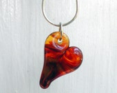 Glass Heart Jewelry, Lampwork Pendant, Hand Blown Necklace, Bright Yellow Red Boro Heart