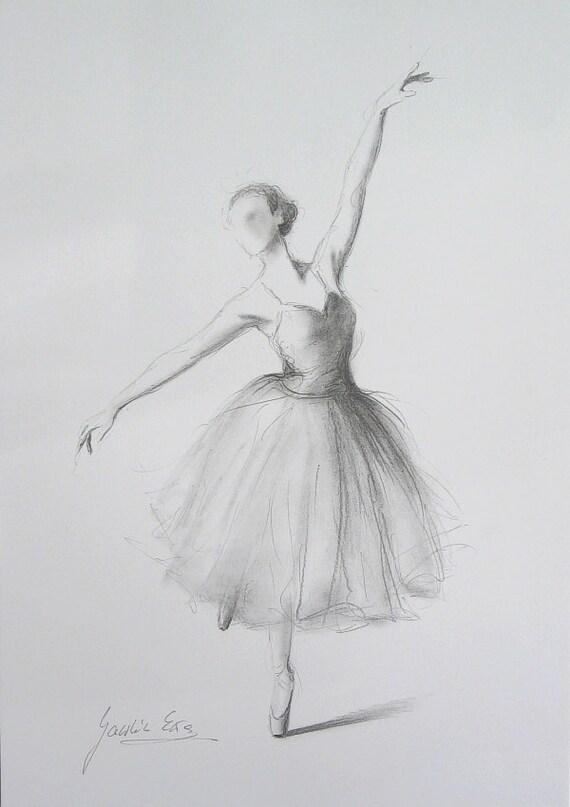 ORIGINAL Bleistiftzeichnung 12 X 8 Auf Weiem Papier Ballerina