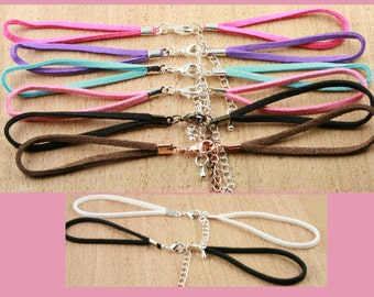 Special Price - 10 FAUX SUEDE BRACELET Cord  - Lobster Clasp and Extender Chain Creates Interchangeable Bezel Tray Jewelry