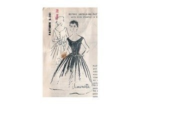 Spadea 251 Sewing Pattern International Designer Simonetta 1950s Tea Garden Party Dress Full Skirt Fitted Bodice Mail Order Bust 34