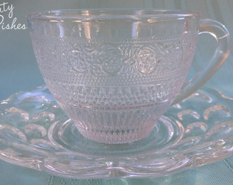 Burton Romance - Set 2 Mismatched Clear Cups and Saucers