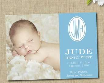 Monogram birth announcement. custom photo card. traditional monogram announcement boy