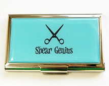 Business Card Case, Hair Stylist, Hairdresser, Card case, business card holder, Shear Genius, Gift for hairdresser, blue (4451)