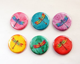 Dragonfly magnets, Nature Magnets, button magnets, Dragonfly, Kitchen Magnets, bright colors, locker magnets, stocking stuffer (3285)