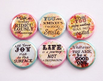 Inspirational Magnets, Words of Wisdom, Magnets, Button magnets, Kitchen Magnet, Fridge Magnet, Flowers, Magnet Set (3383)