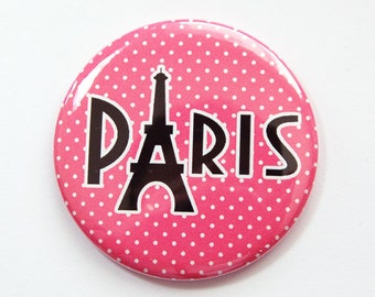 Paris pocket mirror, Eiffel tower mirror, pocket mirror, Paris, mirror, purse mirror, Eiffel Tower, pink mirror, pink, polka dots (3824)