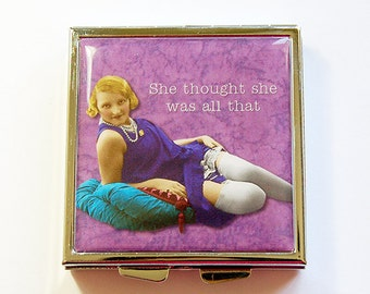 Pill Box, Pill Case, Square Pill case, pill container, 4 Sections, Square Pill box, Purple, She thought she was all that, sassy women (4340)