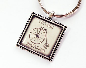 Key chain, Key ring, Keychain, Recycling, keyring, stocking stuffer, Vintage Recycling, ivory, bicycle, under 10 (4389)