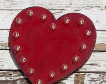 """24"""" Wood Heart Lighted Marquee Sign... Wedding, Anniversary, Gift, Shower, Baby, Valentines"""