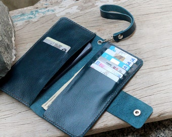 Extra teal leather wallet
