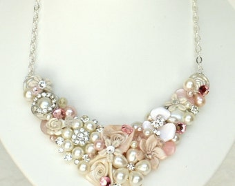 Pink Bridal Necklace-Wedding Necklace- Bridal Bib Necklace- Bridesmaid necklace- Blush Necklace- Pearl bridal necklace- Floral bib necklace