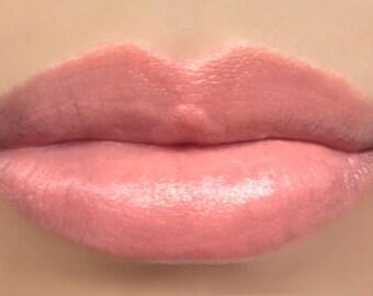 "Vegan Lipstick - ""Soft Spoken"" (semi-sheer light peachy pink color) natural lip tint, balm, lip colour mineral lipstick"