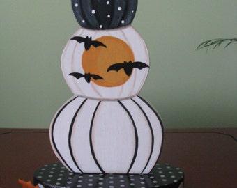 Pumpkin, Halloween, bats, full moon, polka dots, shelf sitter, white, black