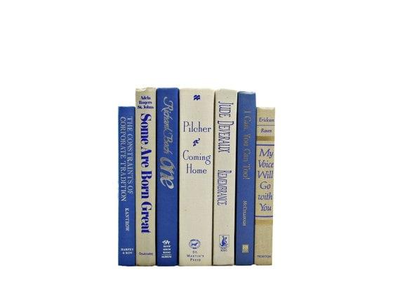 BEIGE & BLUE Decorative Books, Wedding Book Decor, White Centerpiece, Table Settings, Home Book Decor, Decorating Set, Photo prop stack