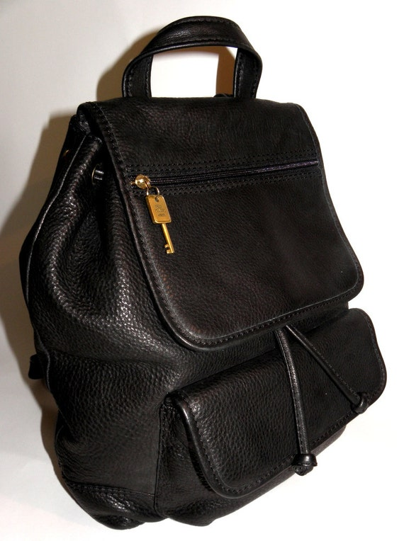 FOSSIL Classic Black Pebbled Leather Vintage Backpack for Career School Shopping