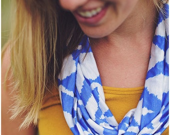 Blue and White Chevron Jersey Knit Infinity Scarf