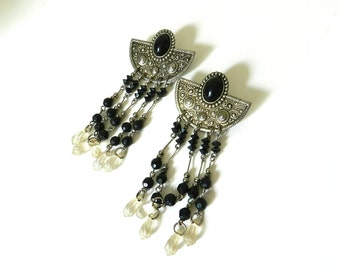 80's TRIBAL DANGLE EARRINGS - Silver and Black / Large / Pierced / Sexy