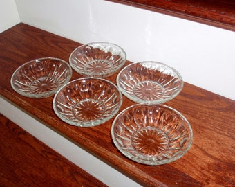 """5 COLONY REGENCY THUMBPRINT Crystal Bowls Dessert 5 1/2"""" Salad Ice Cream Clear Vertical Dots Pressed Crystal 1960s Glass Excellent Condition"""