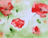 Red Poppies Original Watercolor