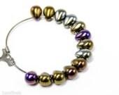 Teardrop Beads 7mm (40) Czech Iris Brown Glass, Small Metallic