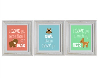 Woodland Nursery Wall Art DIY Printable Set with bear, deer and owl prints
