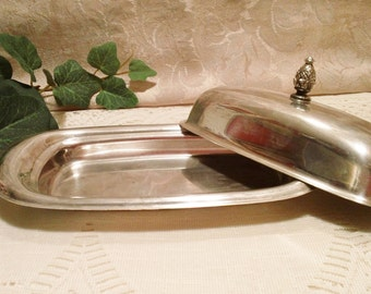 Lovely Vintage Silver Plate Butter Dish with Lid