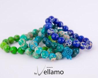 Bracelet with round jasper and chrysocolla gemstones, stretch bracelet, pick your color, blue, turquoise, green beaded elastic bracelet