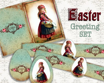 GIRL IN RED - Printable Download Digital Collage Sheet different size image Vintage Ephemera Paper Craft, Scrapbook, Gift tags