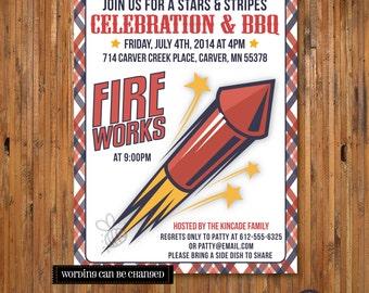 Fourth of July Invitation - Fireworks Invitation - 4th of July Celebration and BBQ - Item JF_0001