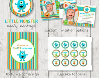 Monster Birthday Party Package, Monster Party Printables, Monster Birthday Decor, Monster Bash, Boy's 1st Birthday, Printable Party Package