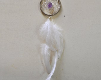 Dream Catcher for Car Mirror- Cream, White, Amethyst, Extra Long Feather