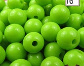 16mm GREEN GUMBALL Beads (20 pieces) Round Acrylic Beads, Chunky Beads, Gum Ball Beads, Bubble Gum Beads, Bubblegum beads