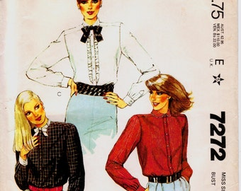 """Vintage 1980 Liz Claiborne Menswear Shirt Inspired Women's Blouses Sewing Pattern, McCall's 7272, Size 14, 36"""" (92cm) Bust, Free US Shipping"""